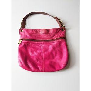 Vintage Fossil Pink Leather Shoulder Bucket Bag